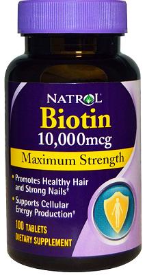 Natrol Biotin 10,000 mcg Maximum Strength Tablets, 100-Tablet