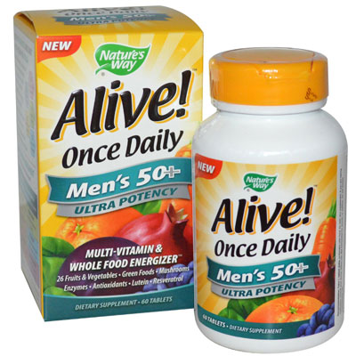 Nature's Way, Alive! Once Daily, Men's 50+, Ultra Potency, Multi-Vitamin & Whole Food Energizer, 60 Tablets