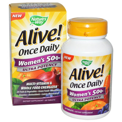 Nature's Way, Alive! Once Daily, Women's 50+, Ultra Potency, Multi-Vitamin & Whole Food Energizer, 60 Tablets