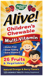 Nature's Way , Alive! Children's Multi-Vitamin Orange & Berry Flavor , 120 Chwbls